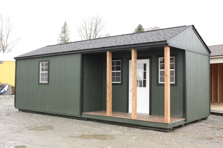 Green Cabin with Side Porch   Heritage Portable Buildings   Washington