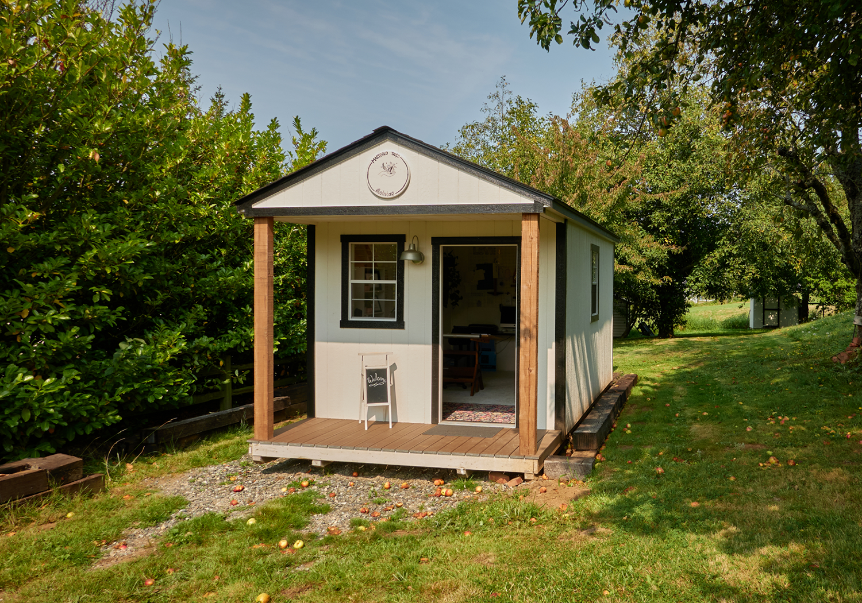 Heritage Portable Buildings | Art Studio | Portable Building with Porch | The Winthrop