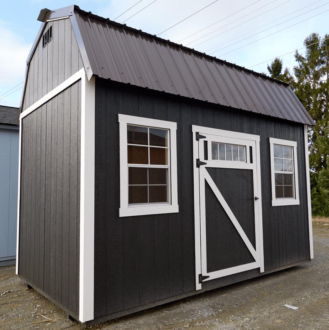 Heritage Portable Buildings | Pre-Built Shed | Dark Gray Shed | Washington